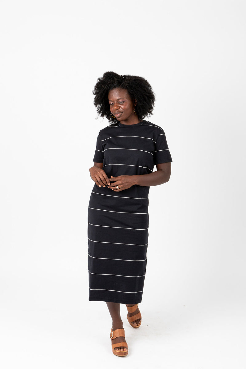 The Kate Striped Midi Dress in Black, studio shoot; front view