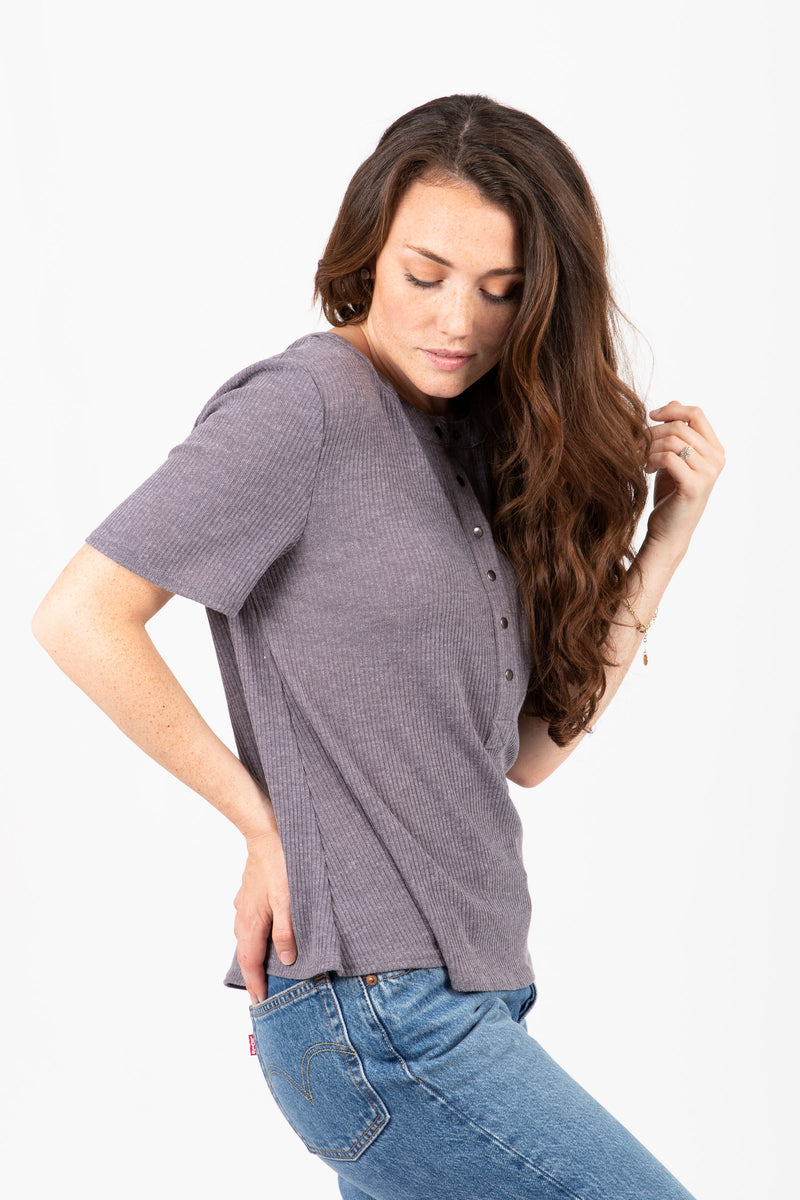 The Sugar Rush Ribbed Blouse in Grey
