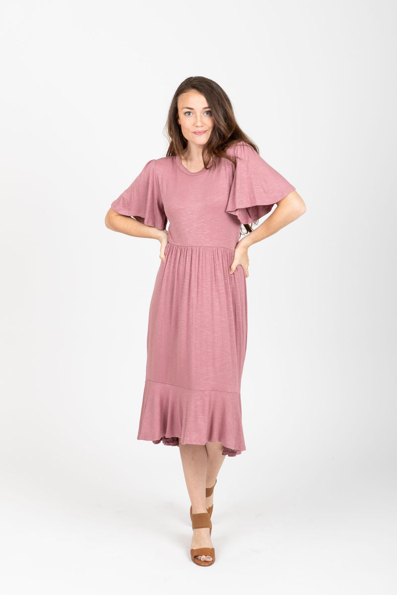 The Memento Casual Empire Dress in Mauve