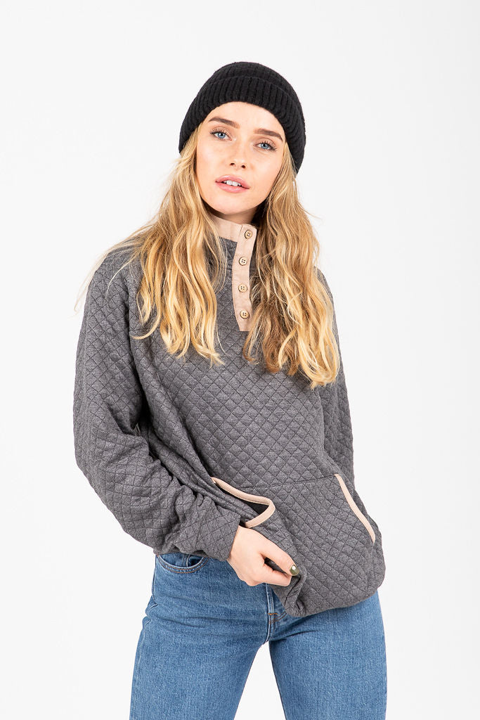 The Bethany Half Button Pullover in Charcoal
