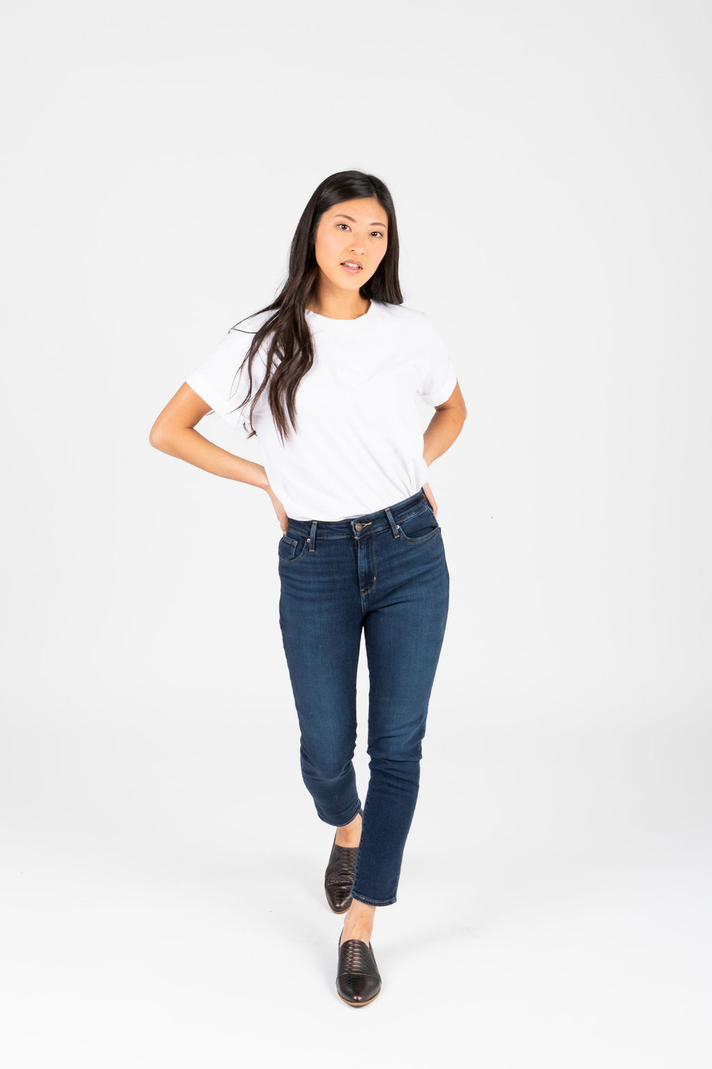 Levi's: 721 High Rise Ankle Skinny Jean in Smooth It Out Dark Wash, studio shoot; front view