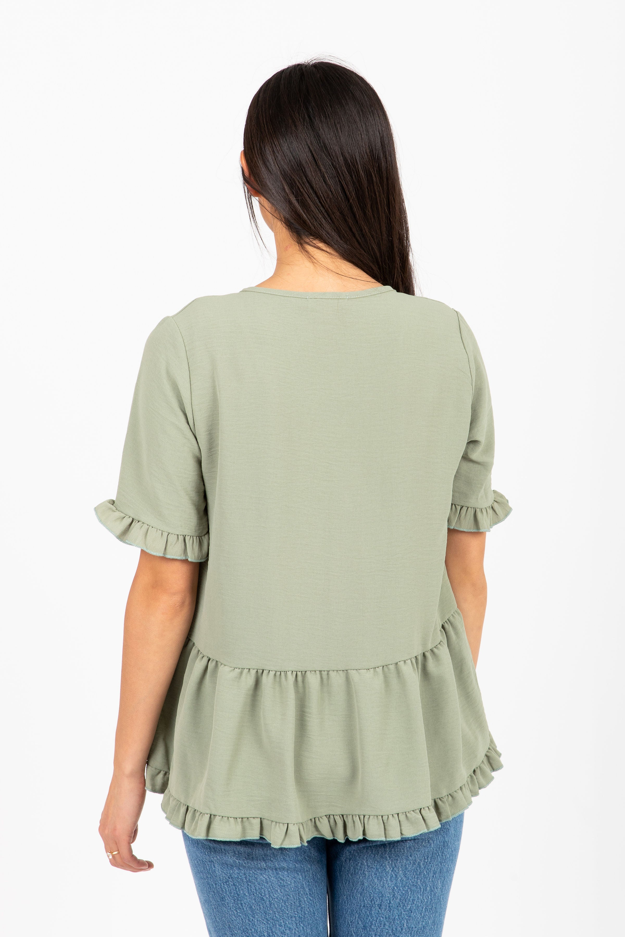 The Libra Ruffle Peplum Blouse in Light Olive