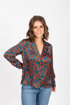 The Choice Floral Satin Blouse in Teal, studio shoot; front view