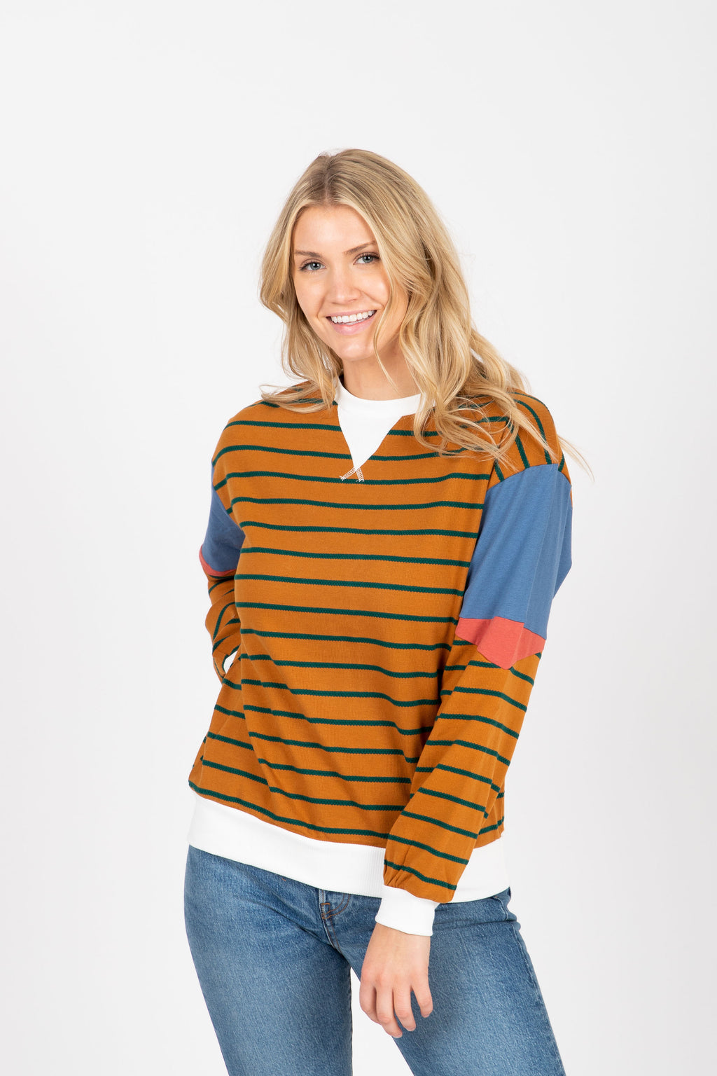 The Marlo Striped Contrast Crew Pullover in Camel, studio shoot; front view