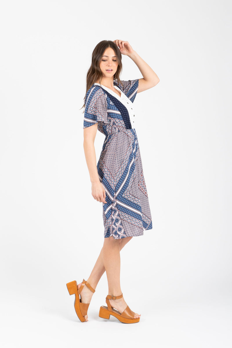 Piper & Scoot: The Frances Detail Patterned Dress in Multi