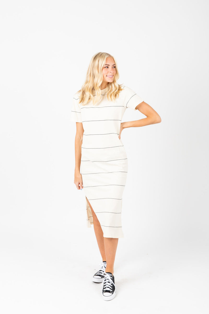 The Kate Striped Midi Dress in White, studio shoot; front view