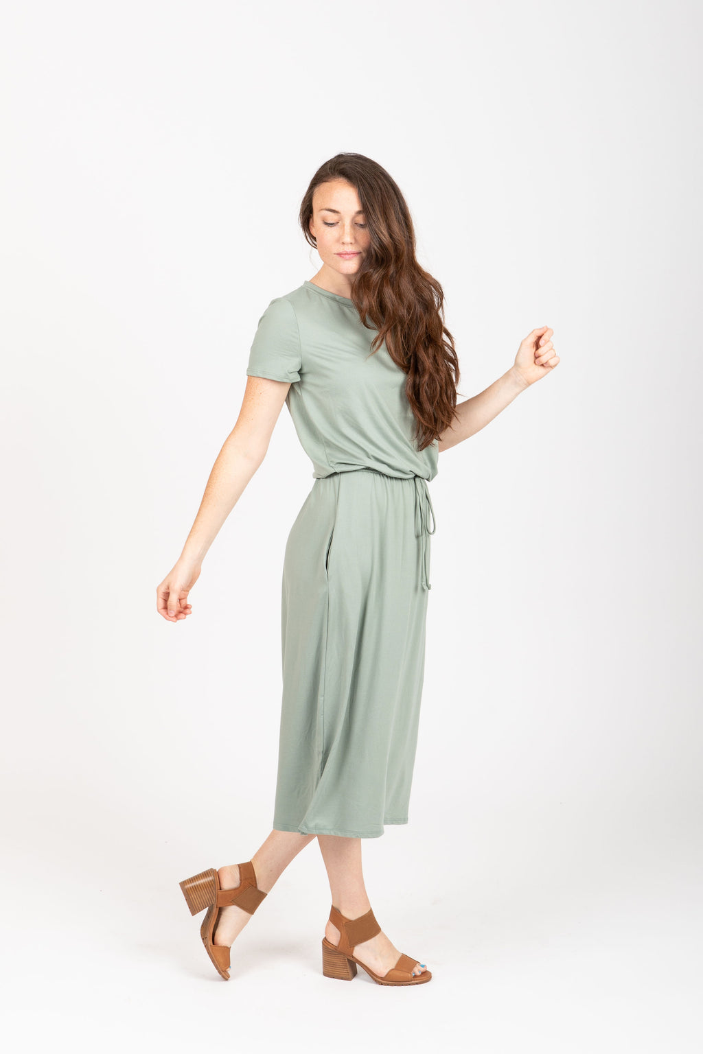 The Willow Casual Empire Dress in Sage