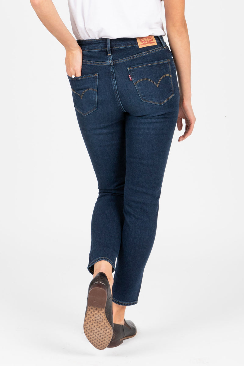 Levi's: 721 High Rise Ankle Skinny Jean in Smooth It Out Dark Wash, studio shoot; back view
