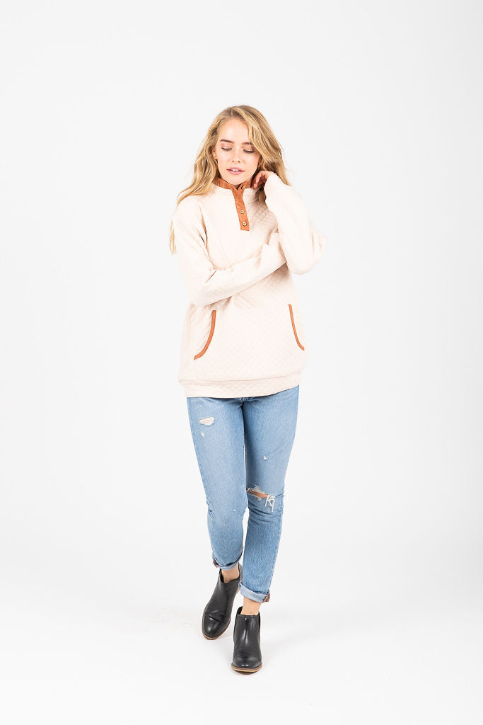 The Bethany Half Button Pullover in Oatmeal
