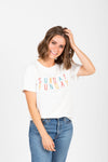 he Sunday Casual Graphic Tee in Ivory, studio shoot; front view
