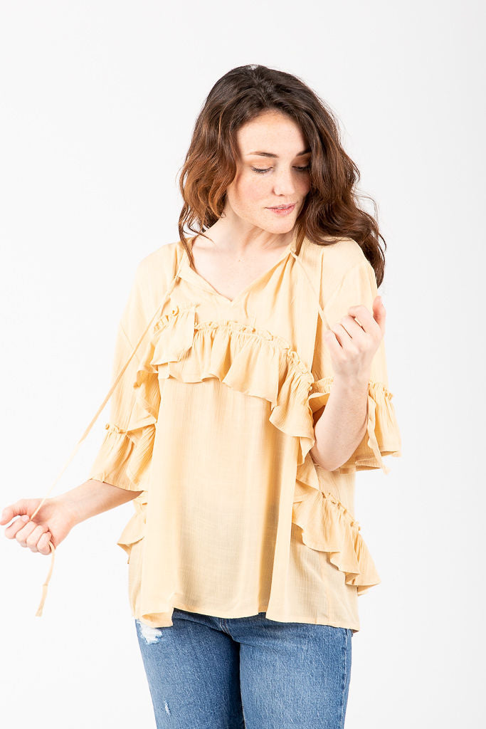 The Plymouth Ruffle Blouse in Cream