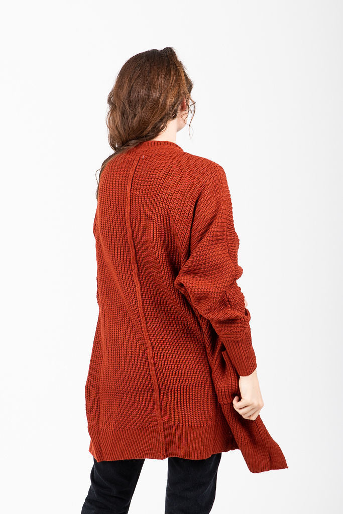 The Carlos Ribbed Knit Cardigan in Brick