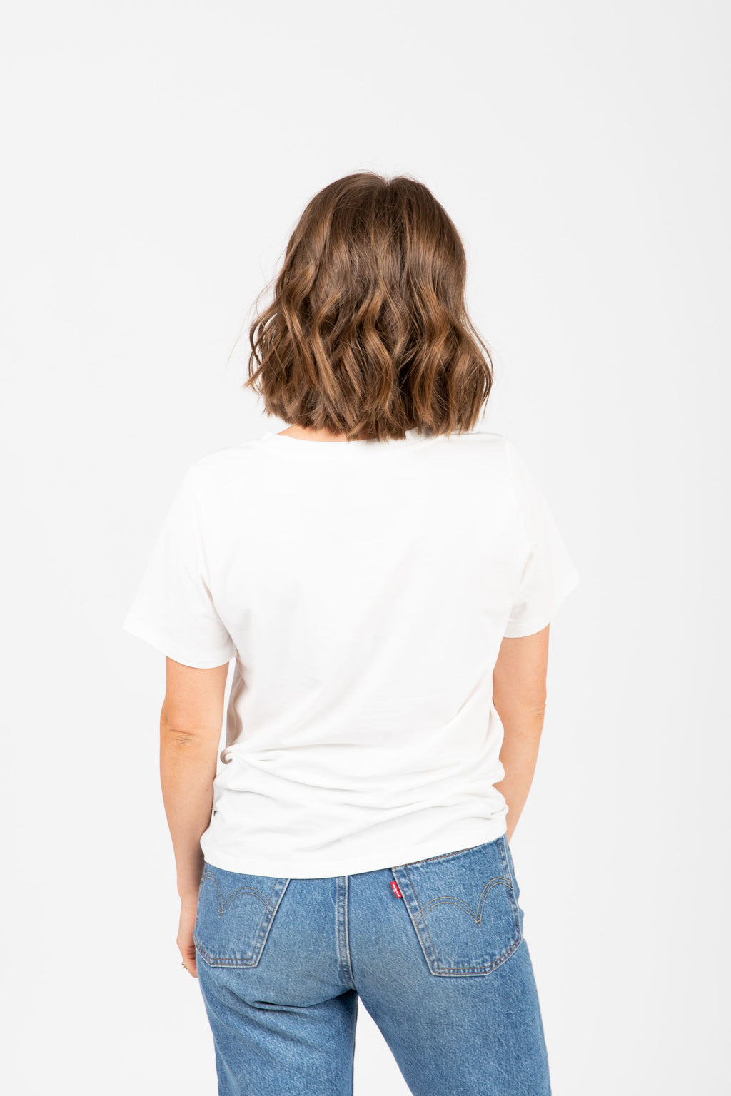 he Sunday Casual Graphic Tee in Ivory, studio shoot; back view