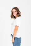 he Sunday Casual Graphic Tee in Ivory, studio shoot; side view