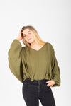 The Bobbi Casual Pocket Sweater in Mustard