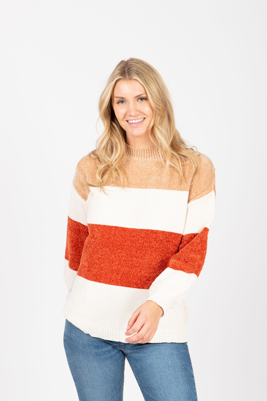 The Anthony Striped Cozy Sweater in Rust, studio shoot; front view