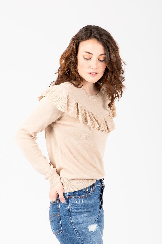 The Janesville Ruffle Detail Blouse in Oatmeal