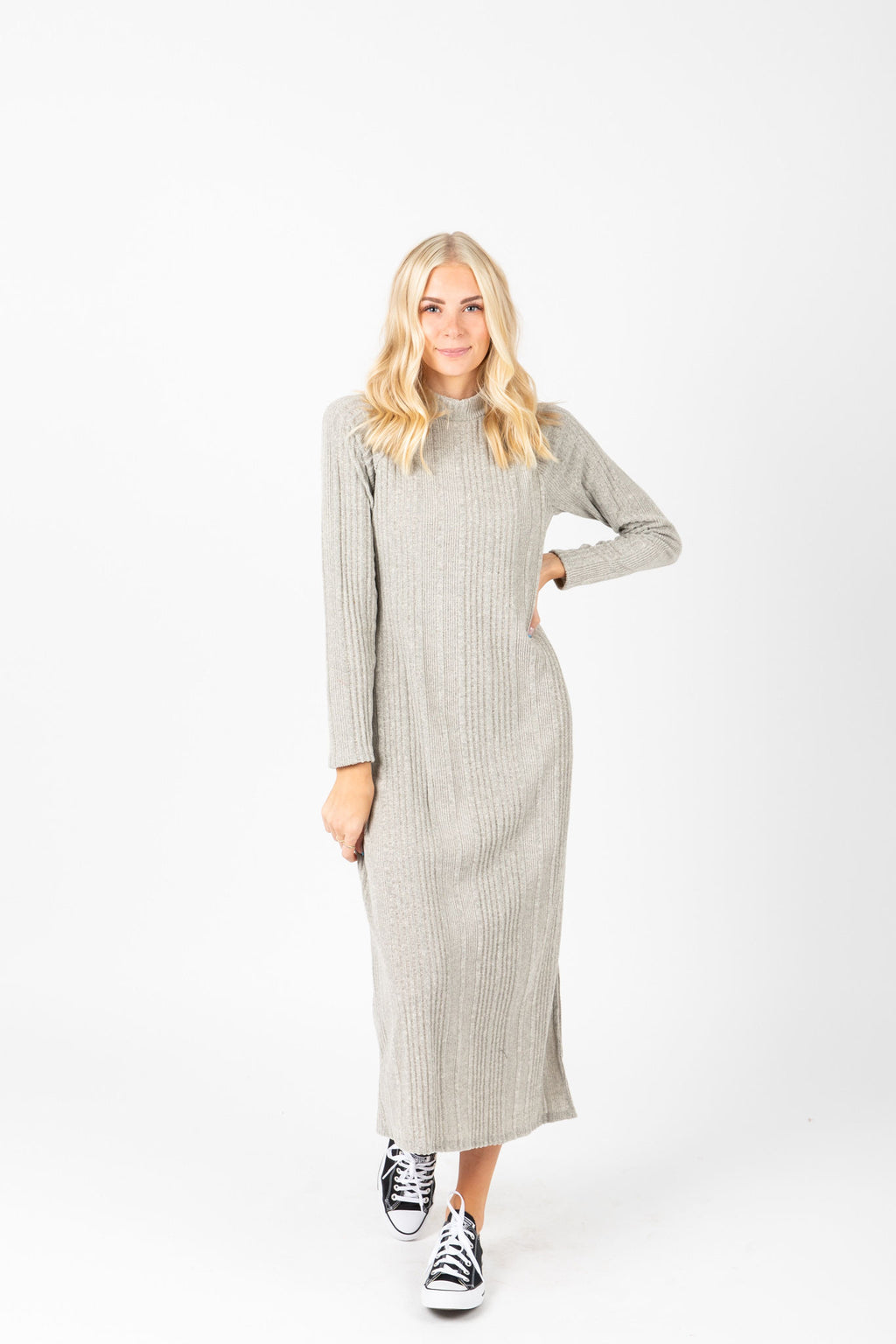 The Winkler Knit Midi Dress in Heather Grey, studio shoot; front view