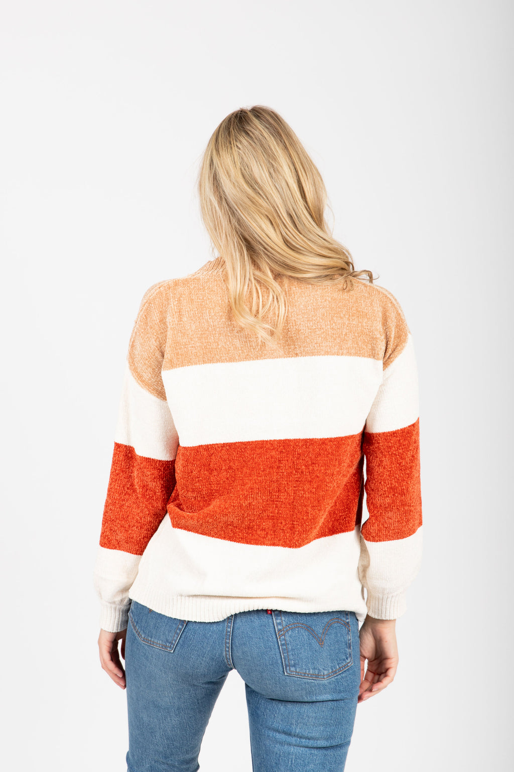 The Anthony Striped Cozy Sweater in Rust, studio shoot; back view
