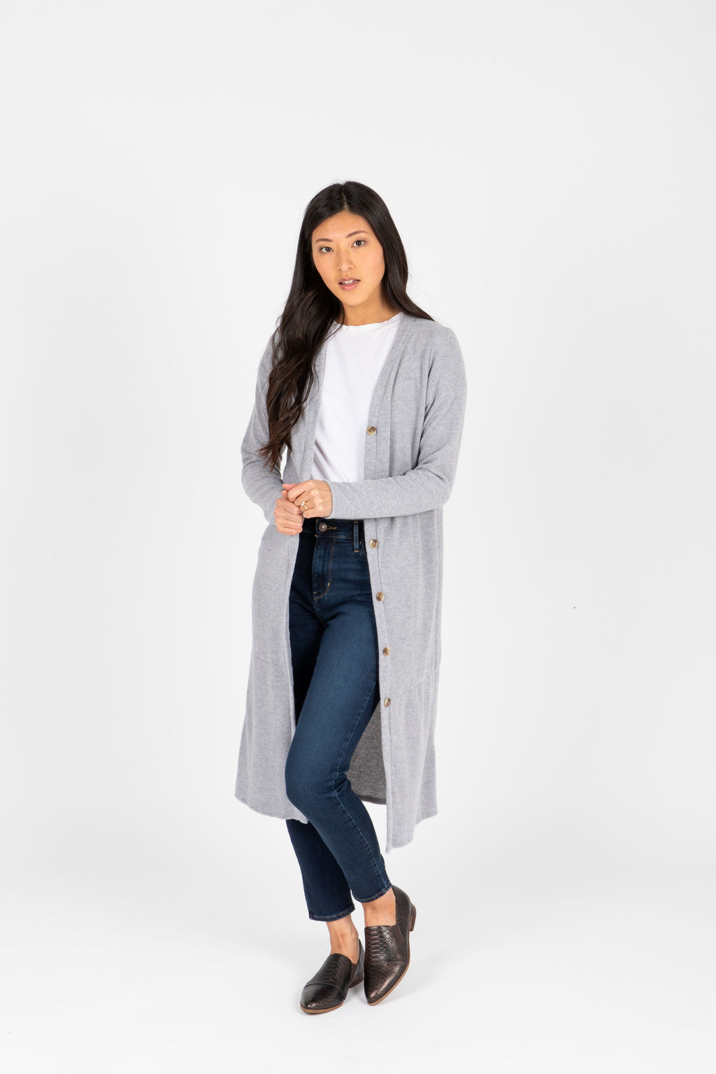 The Ripple Long Button Cardigan in Heather Grey, studio shoot; front view