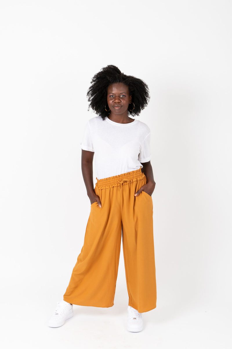 The Riki Wide Leg Trouser in Mustard