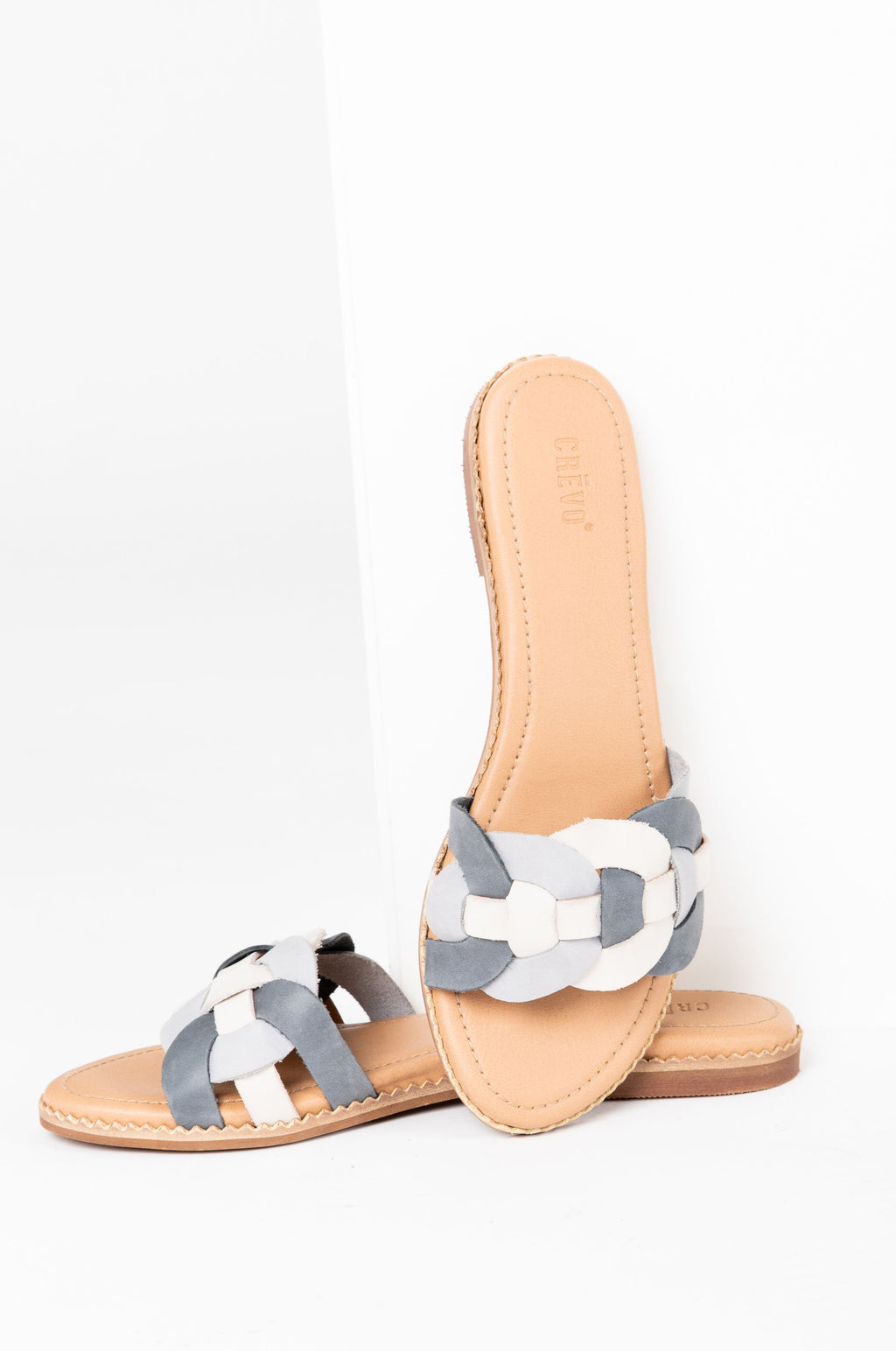 Crevo Footwear: The Poppi Slide Sandal in Dusty Blue, studio shoot; front view