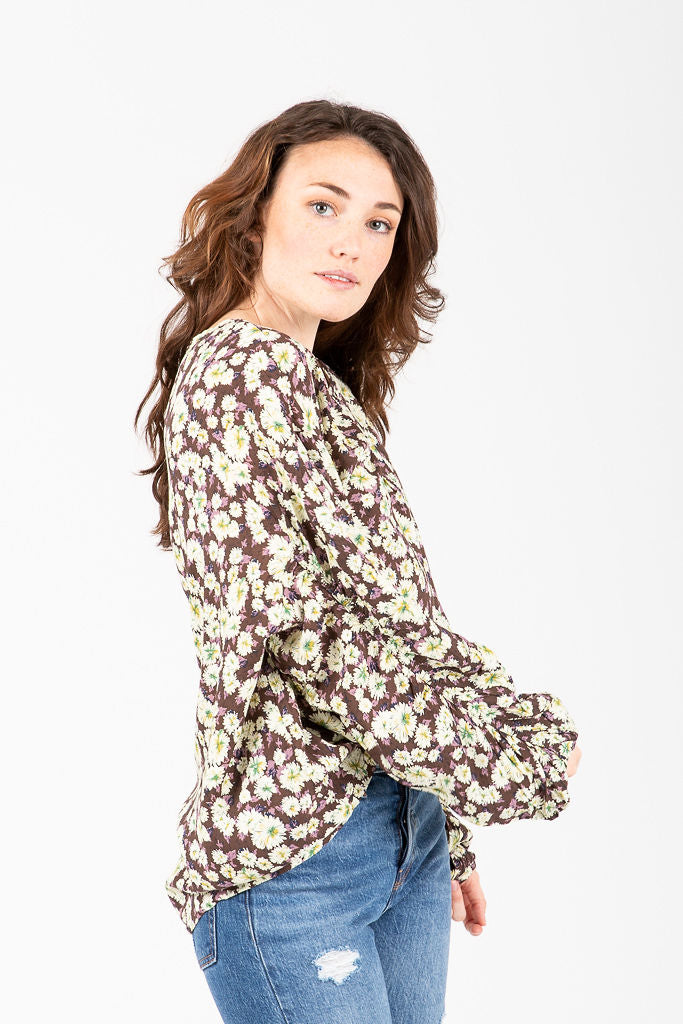 The Monroe Pleated Floral Blouse in Mocha
