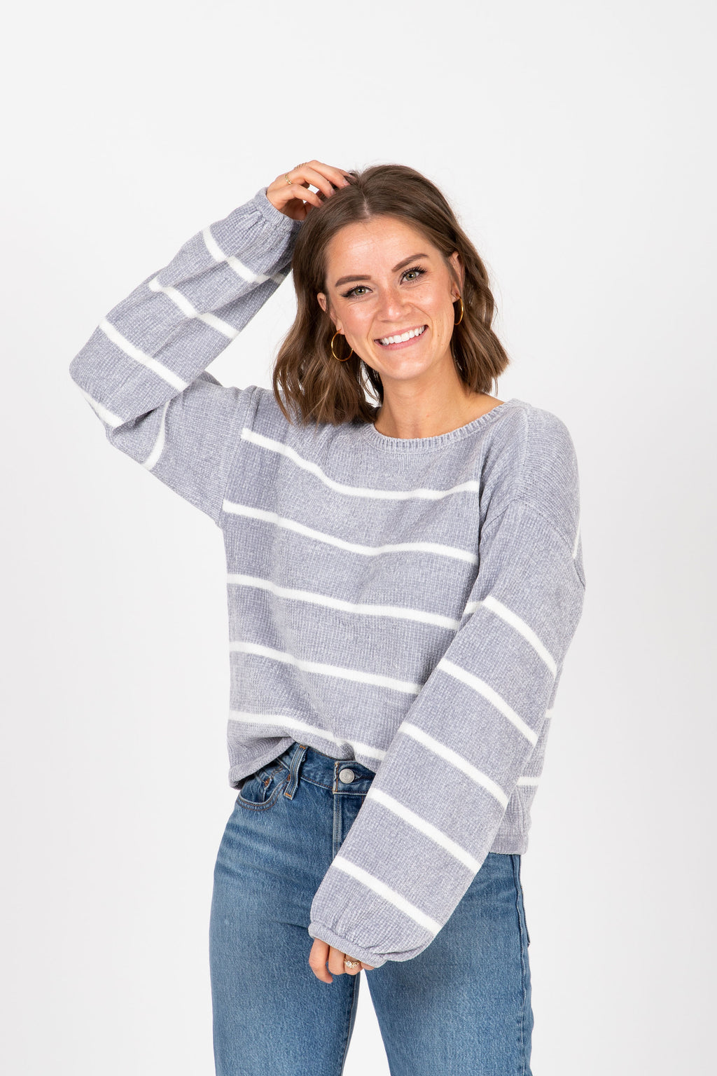 The Edge Cozy Striped Sweater in Grey, studio shoot; front view