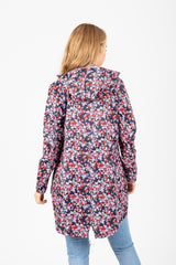 Joules: Go Lightly Waterproof Packaway Parka in Navy Mono Ditsy Floral