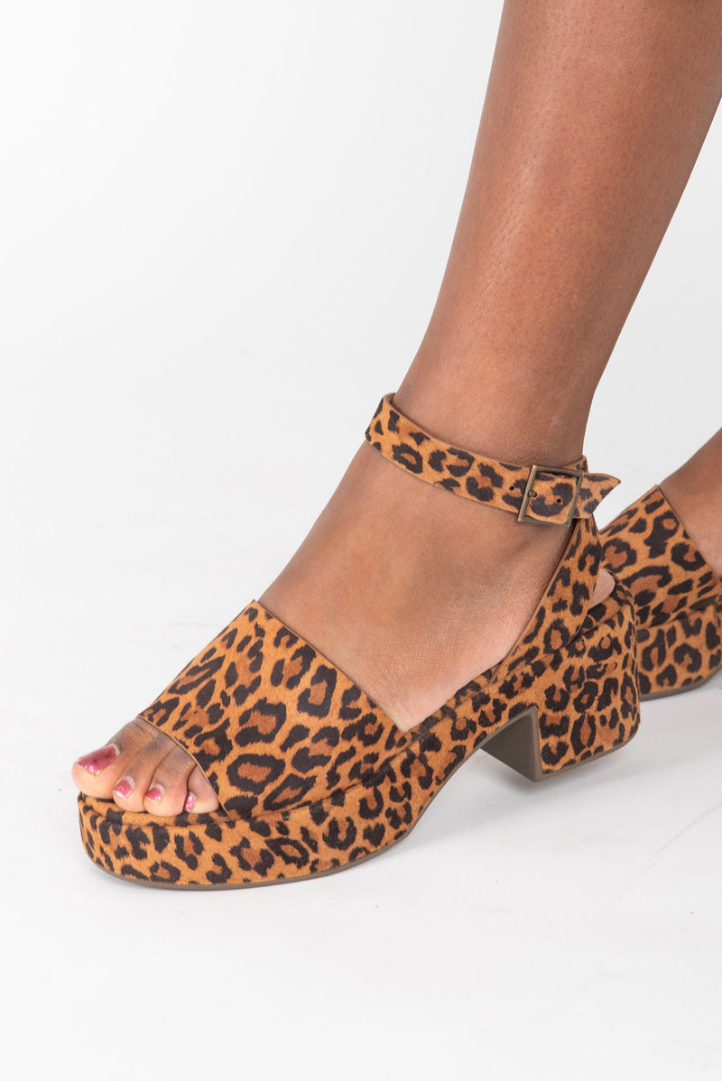 Seychelles: Calming Influence Suede Sandals in Leopard, studio shoot; side view