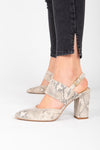 BC by Seychelles: Value Heel in Natural Exotic, studio shoot; side view