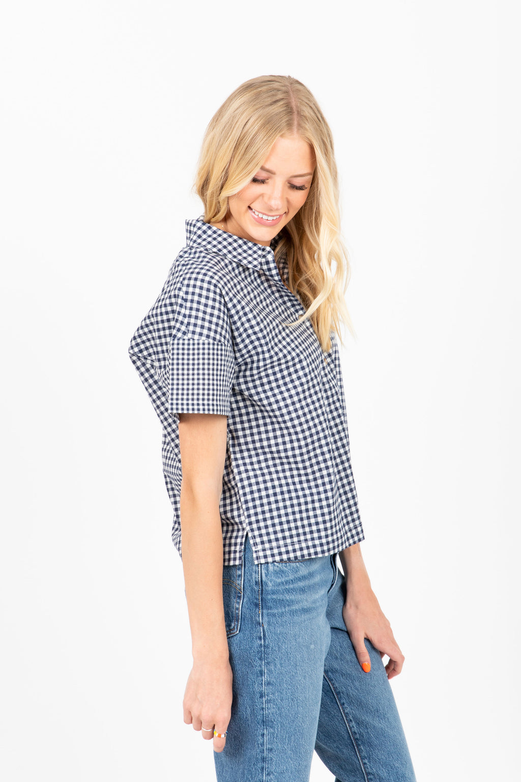 The Refresh Gingham Button Up Blouse in Navy