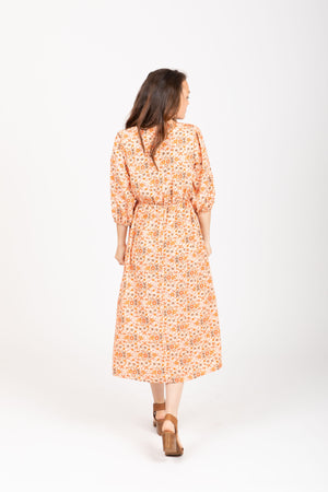 The Soul Patterned Empire Dress in Rust