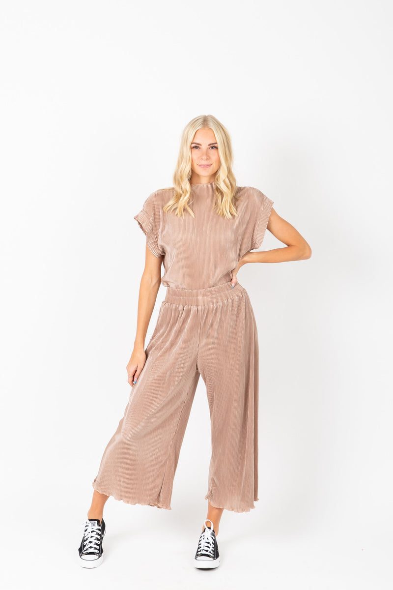The Ariana Pleated Set in Blush, studio shoot; front view