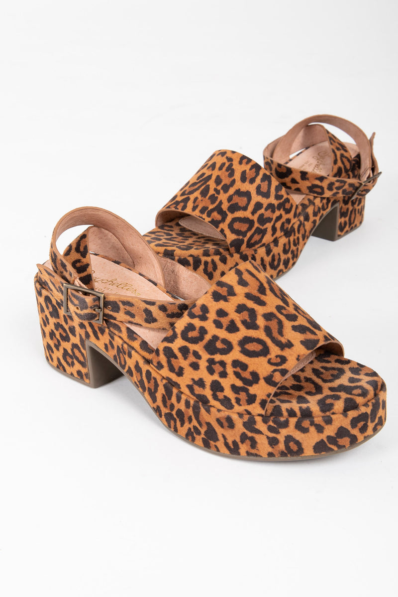 Seychelles: Calming Influence Suede Sandals in Leopard, studio shoot; front view