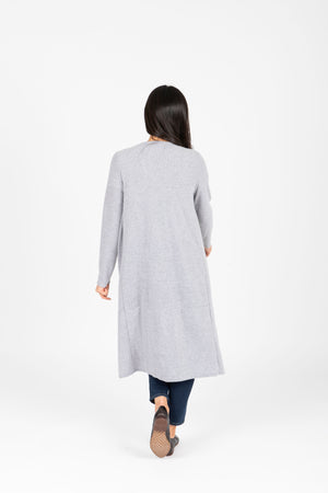 The Ripple Long Button Cardigan in Heather Grey, studio shoot; back view
