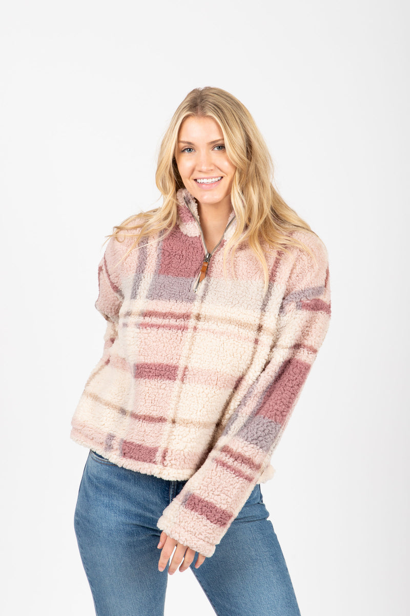 The Walking Poetry Pullover in Dusty Mauve Plaid, studio shoot; front view