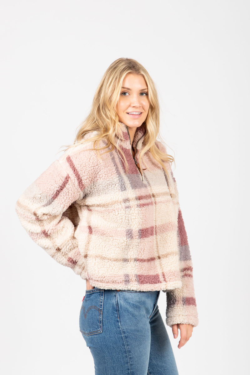 The Walking Poetry Pullover in Dusty Mauve Plaid, studio shoot; side view
