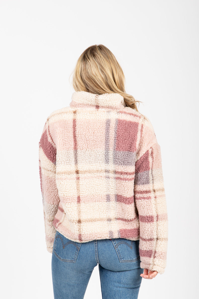 The Walking Poetry Pullover in Dusty Mauve Plaid, studio shoot; back view
