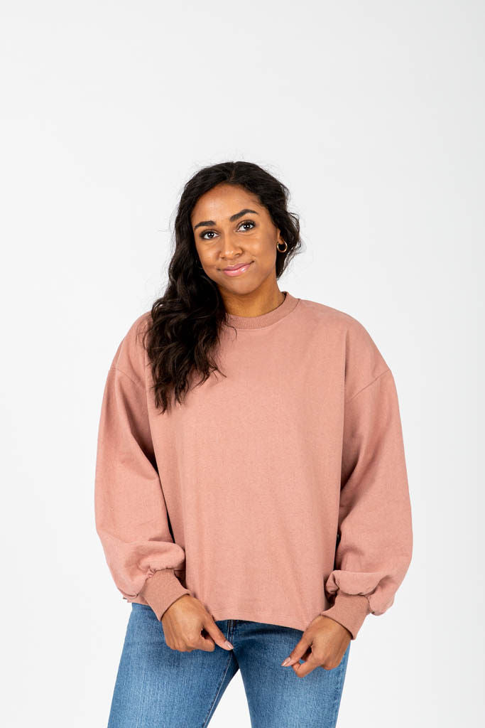 The Grint Balloon Sleeve Pullover in Mauve, studio shoot; front view