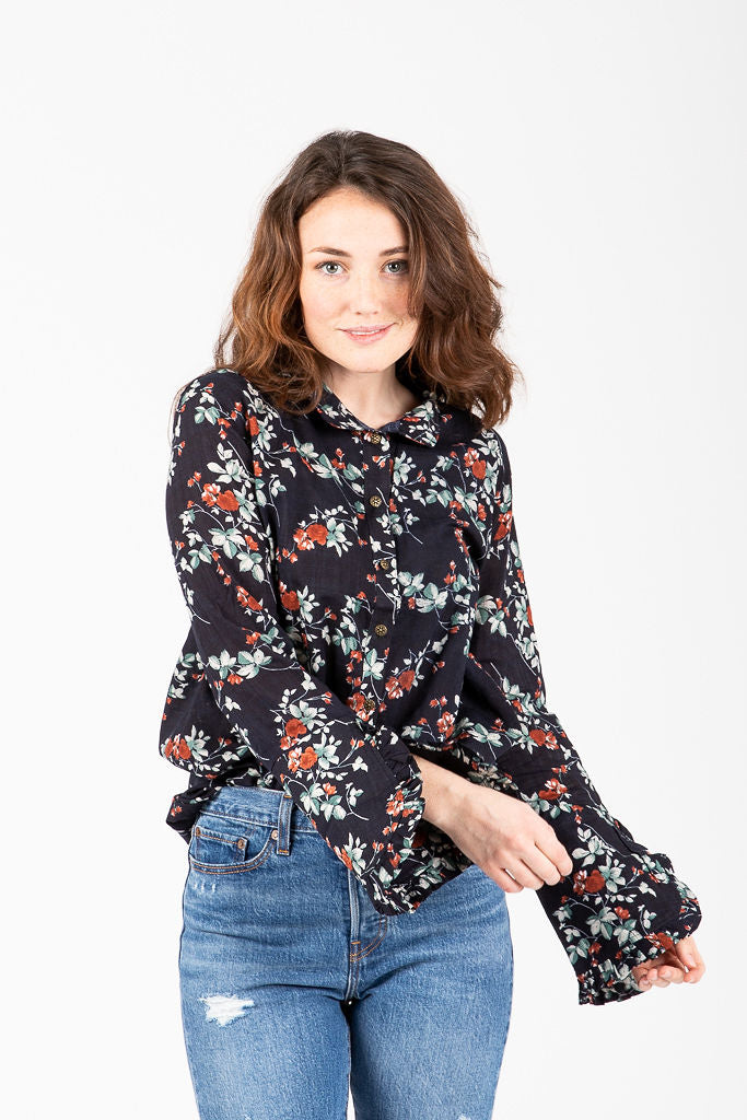 30e216f9 The Hollstein Floral Button Up Blouse in Navy – Piper & Scoot