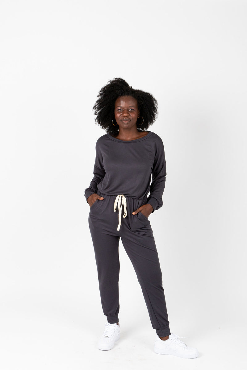 The Harnell Casual Soft Jumpsuit in Slate, studio shot; front view