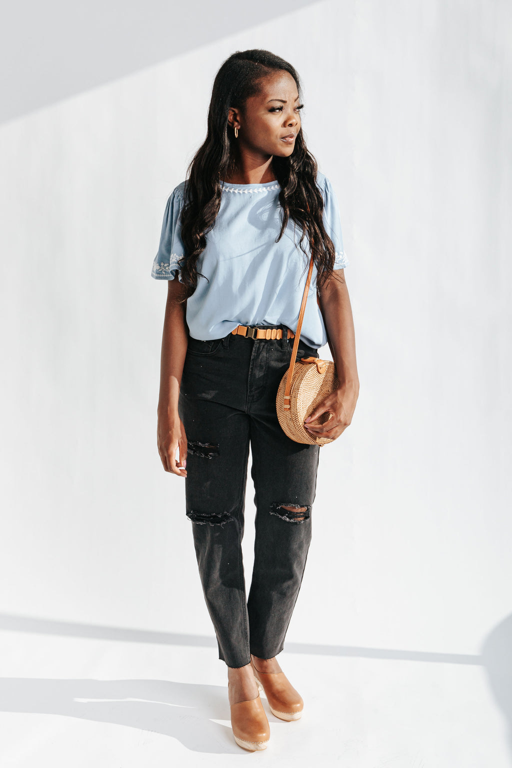 The Rhett Embroidered Detail Blouse in Baby Blue, studio shoot; front view