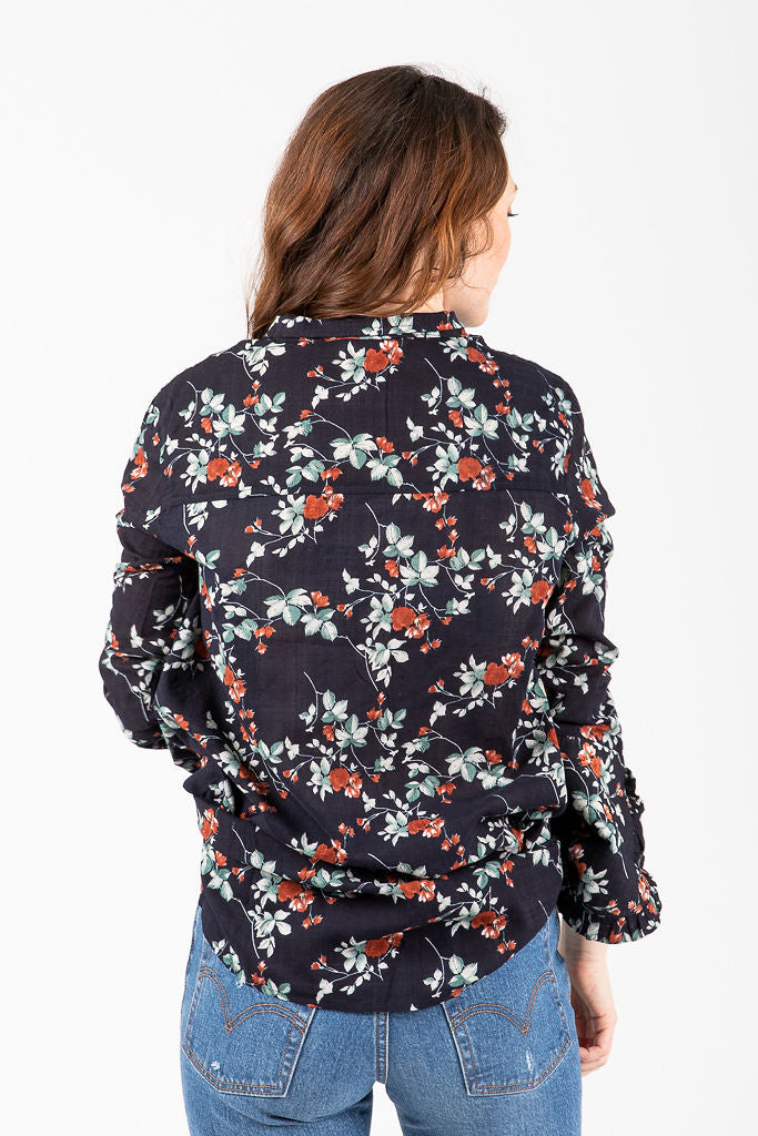The Hollstein Floral Button Up Blouse in Navy