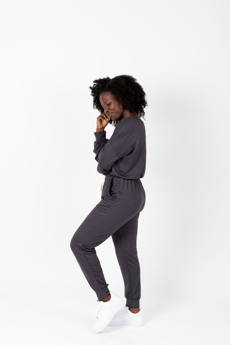 The Harnell Casual Soft Jumpsuit in Slate, studio shot; side view