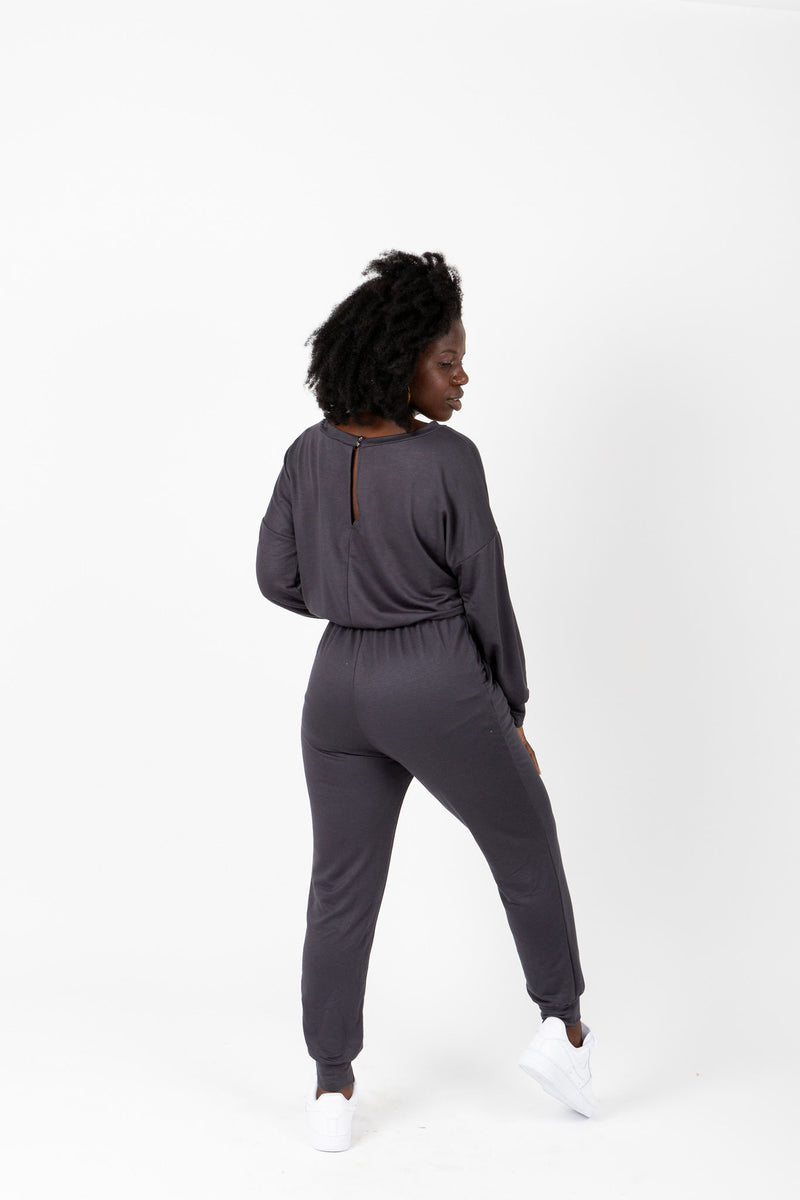 The Harnell Casual Soft Jumpsuit in Slate, studio shot; back view