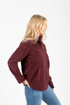 The Road Trip Pullover in Bordeaux, studio shoot; side view