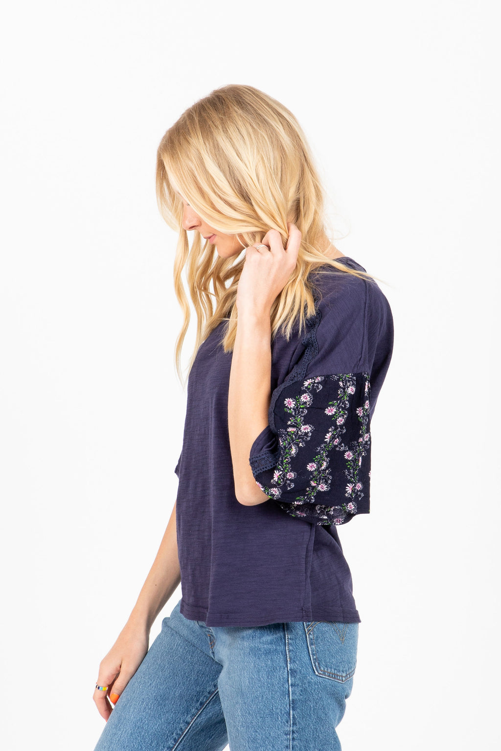 The Tropez Lace Detail Blouse in Navy