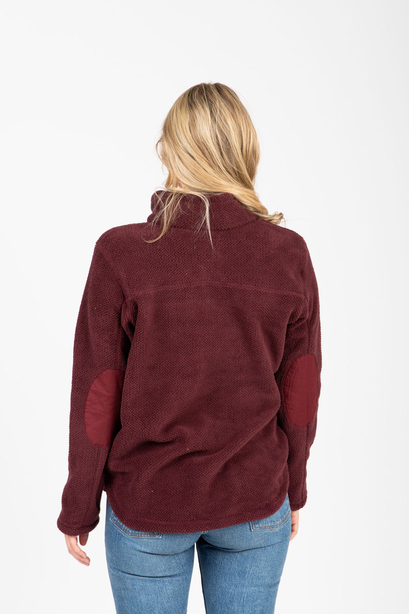 The Road Trip Pullover in Bordeaux, studio shoot; back view