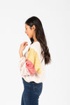 The Dorian Contrast Waffle Blouse in Tan, studio shoot; side view